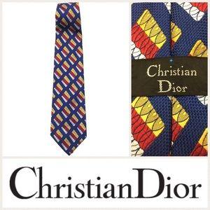 EUC Vintage Christian Dior men's blue tiled tie